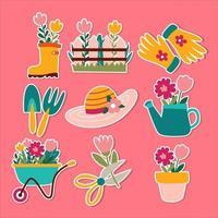 coleção de adesivos de elementos de jardinagem vetor