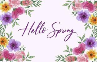 fundo aquarela primavera com flores desabrochando vetor