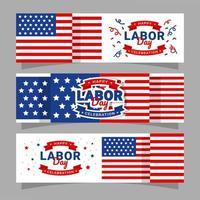 coleção de banners de celebração do dia do trabalho vetor
