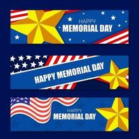 modelo de banner feliz dia do memorial vetor