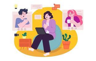 design de conceito de bate-papo online vetor