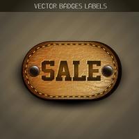 etiqueta de couro da venda vetor