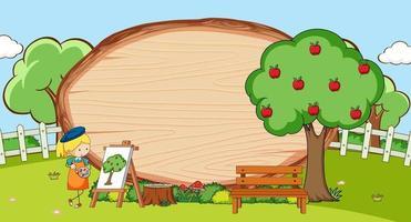 cena do parque com uma placa de madeira em branco em forma oval com crianças doodle personagem de desenho animado vetor