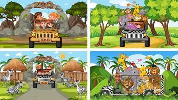 quatro cenas diferentes de zoológico com crianças e animais vetor