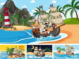 conjunto de diferentes cenas de praia com navio pirata e personagem de desenho animado pirata vetor