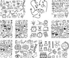 conjunto de objeto e símbolo desenhado à mão doodle em fundo branco vetor