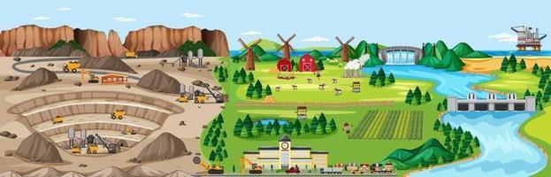 paisagem da mina de carvão e terras agrícolas vetor