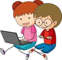 um doodle crianças usando um personagem de desenho animado de laptop isolado vetor