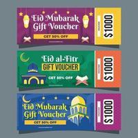 Conjunto de vouchers eid mubarak vetor