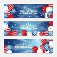 banner americano do dia do memorial vetor