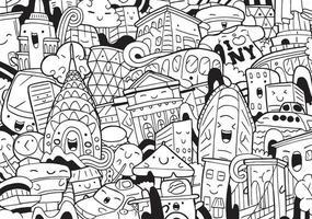 doodle de nova york com ilustração vetorial vetor
