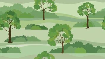 fundo de paisagem rural. vista do horizonte do parque natural de verão sem costura. padrão de telha de árvores de jardim vetor