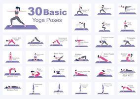 30 poses de ioga e ilustração de exercícios de fitness