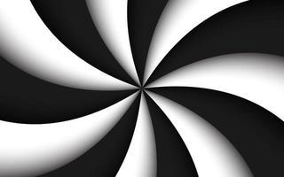 fundo espiral preto e branco. rodopiante padrão radial. ilustração vetorial abstrata vetor