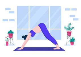 mulher grávida fazendo poses de ioga