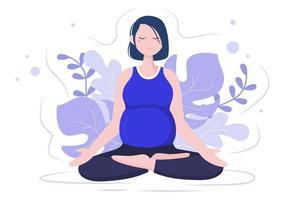 mulher grávida fazendo ioga vetor