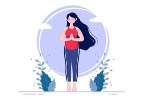 mulher grávida fazendo poses de ioga vetor