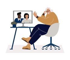 tecnologia para o conceito de vetor plana de idosos.