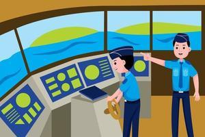 profissão de guarda costeira em estilo design plano. vetor