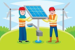 profissão de engenheiro solar em estilo design plano. vetor
