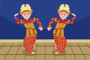 profissão de dançarina tradicional em estilo design plano. vetor