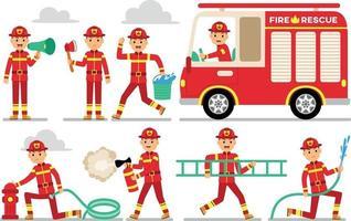 conjunto de caracteres de profissão de bombeiro vetor