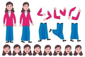 conjunto de criação de personagem plana estudante mulher vetor