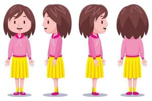 personagem linda garota em diferentes poses 3 vetor