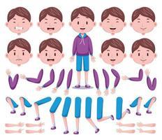 vista frontal conjunto de criação de personagem de menino bonito 4 vetor