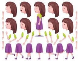 vista esquerda - conjunto 2 de criação de personagem de garota fofa vetor