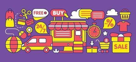 loja online em estilo design plano. vetor