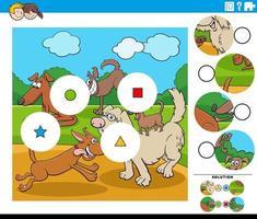 tarefa de combinar peças com personagens de desenhos animados vetor