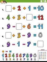 página de planilha educacional de cálculo matemático para crianças vetor