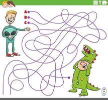 jogo educativo de labirinto com meninos de desenho animado fantasiados vetor