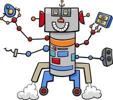 personagem de quadrinhos de fantasia de robô engraçado de desenho animado vetor