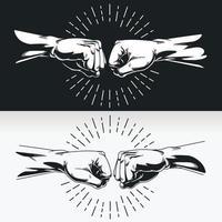 silhueta mano punho bump aperto de mão junta, desenho vetorial de estêncil vetor