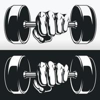 silhueta fisiculturista fitness mão halteres, desenho de estêncil vetor