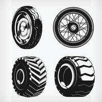 silhueta rodas de motocicleta pneus de carro, desenho vetorial de estêncil vetor