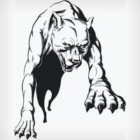 silhueta saltando pitbull agressivo, desenho de vista frontal estêncil vetor
