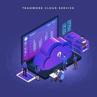 trabalho em equipe de serviço em nuvem isométrica vetor