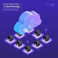 tecnologia de nuvem isométrica vetor