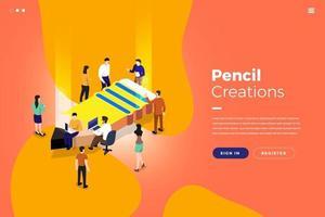 criações isométricas de lápis vetor