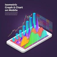 ferramentas de análise de aplicativos móveis de conceito de design isométrico. ilustrações vetoriais. vetor