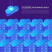 computação em nuvem isométrica vetor