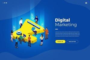 marketing digital isométrico vetor