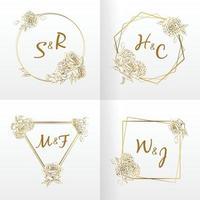 moldura de casamento monograma, ornamento floral desenhado à mão, vetor de flor rosa