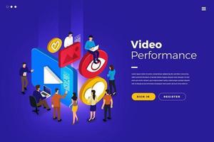 desempenho de vídeo isométrico vetor