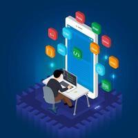 aplicativo móvel programador vetor