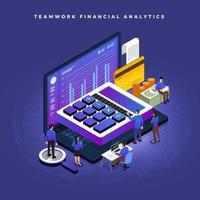 trabalho de equipe financeiro isométrico vetor
