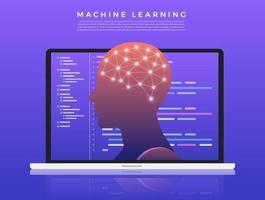 ilustração de aprendizado de máquina vetor